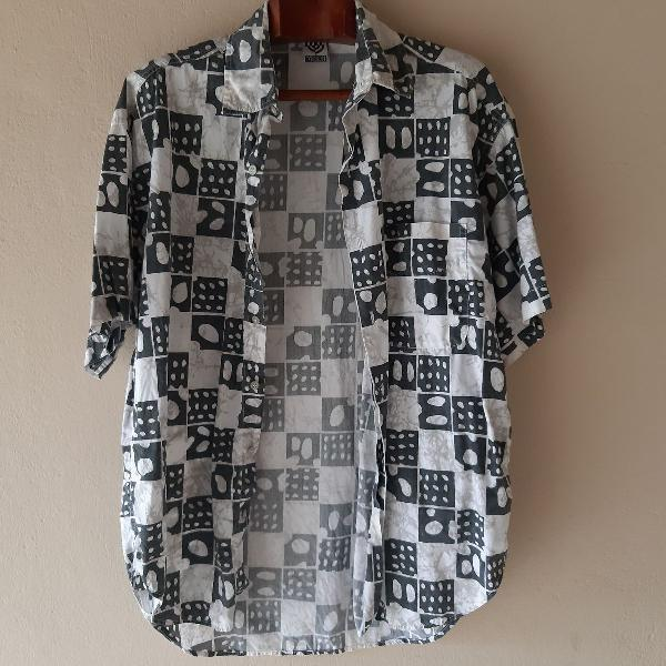 Camisa masculina estampada vintage retro