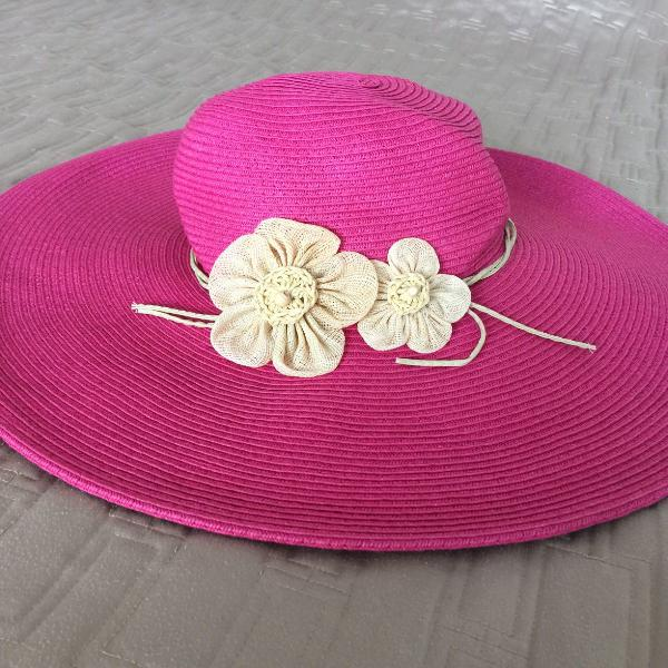 Chapéu de praia uv rosa com flor com regulagem - importado