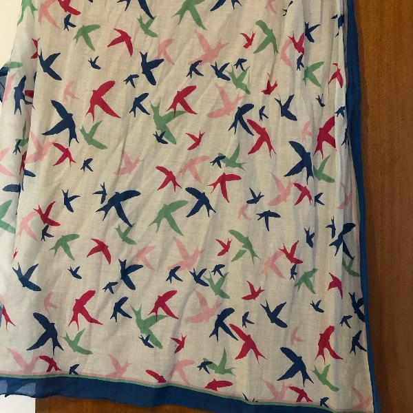 Lenço echarpe pássaros quadrado