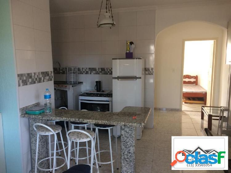 Apartamento 1 dormitório semi mobiliado reformado no boqueirão praia grande