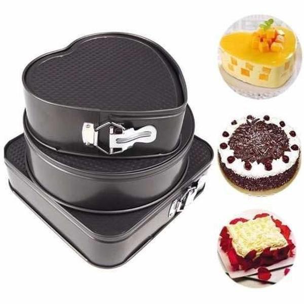 3 formas antiaderente fundo removível bolo assadeiras torta