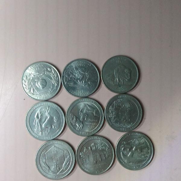 9 moedas quarter dólar dollar especiais r$129