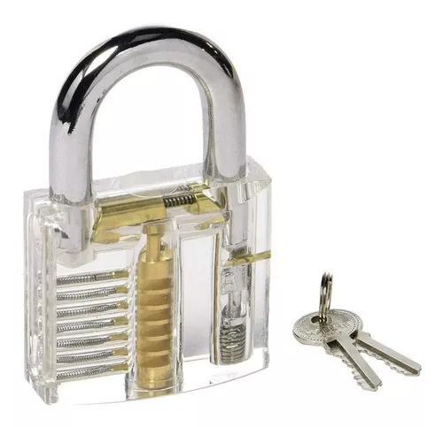 Cadeado acrílico transparente 7 pinos 50mm treino chaveiro