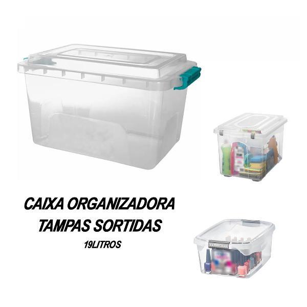 Caixa organizadora plástica 19lts brinquedos, casa, etc..