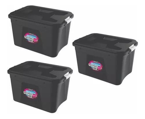Caixa organizadora preta multiuso plástica 56 litros kit