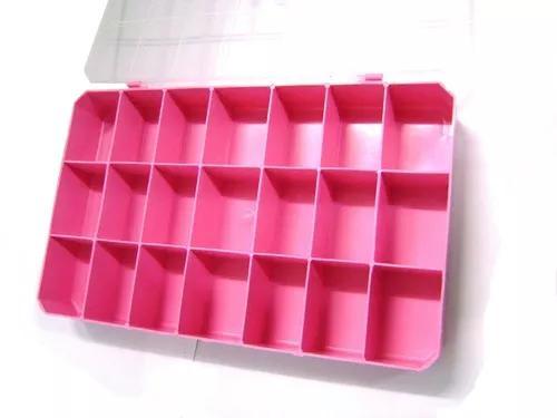 Caixa plastica organizadora 21 divisórias - rosa
