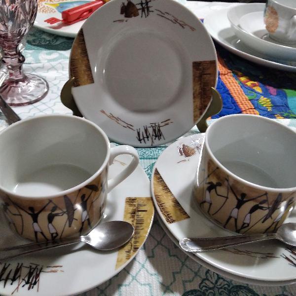 Conjunto chá étnico em porcelana