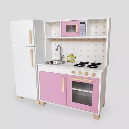 Cozinha mdf infantil completa geladeira rosa frete gratis