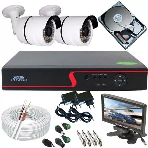 Kit 2 câmeras segurança ahd monitor 7 pol dvr 4ch p2p