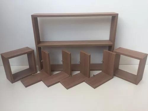 Kit 7 peças nichos fabricação própria mdf amadeirado