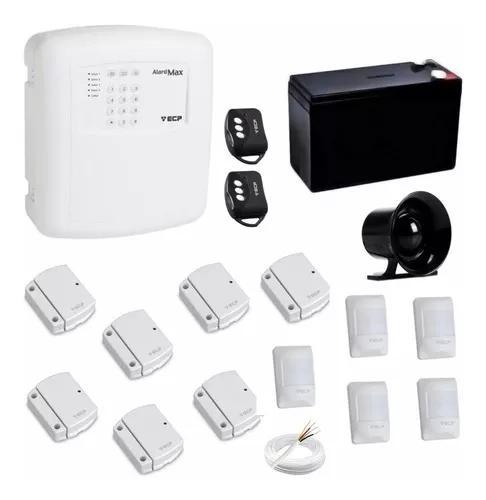 Kit alarme residencial com 4 setores + sensores presenca pet