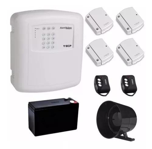 Kit alarme residencial ecp c/ 4 sensores s/ fio + bateria