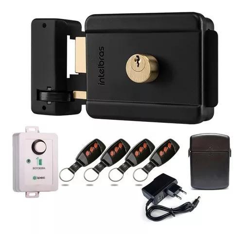 Kit fechadura elétrica intelbras s/ fio acionador e 4