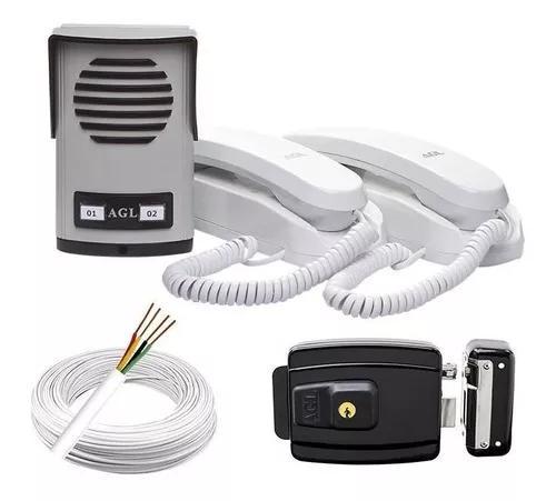 Kit interfone 2 pontos + fechadura elétrica agl + 50m cabo