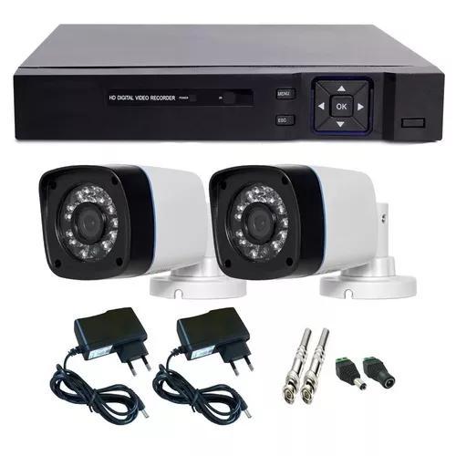 Kit segurança casa e comercio 2 câmeras infra + dvr 4