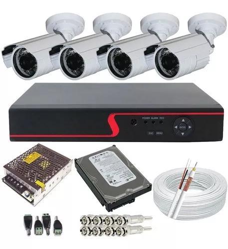 Kit vigilância 4 câmeras infravermelho e dvr- kit completo