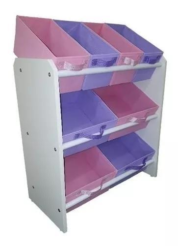 Organizador armário infantil mdf 8 caixas guarda brinquedos