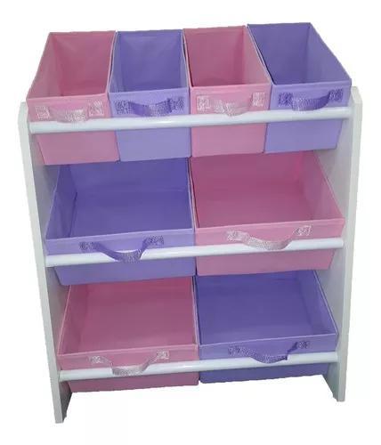 Organizador brinquedos infantil médio rosa e lilás