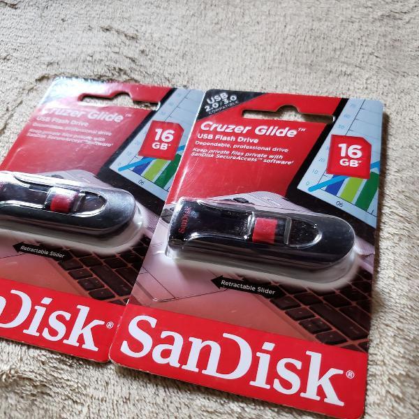 Pen drive 16gb flash cruzer 2.0 - sandisk - original 2unid