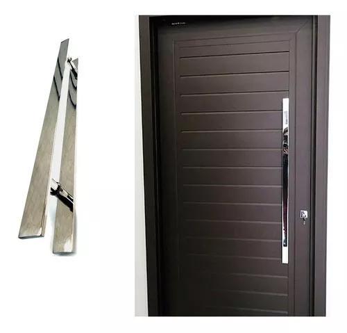 Puxador chato 60cm inox porta de madeira e vidro polido