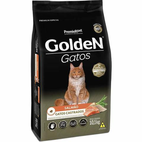 Ração golden para gatos adultos castrados sabor salmão 10