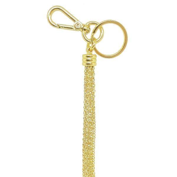 Chaveiro para bolsa com franja tassel de metal dourado
