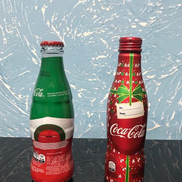 Conjunto com 2 garrafas coca cola