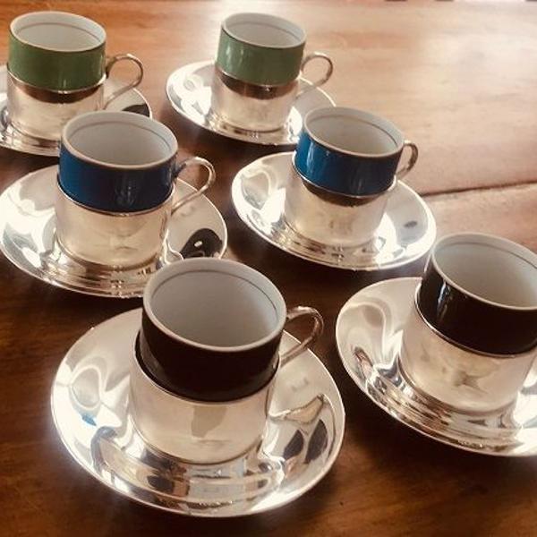 Conjunto de 6 xícaras café de porcelana com suporte de