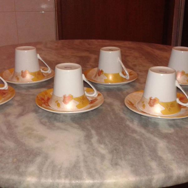Jogo xícara café porcelana