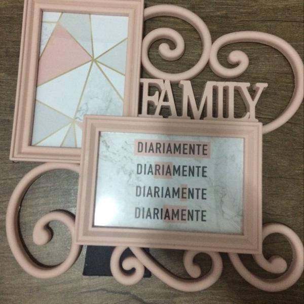 Porta retrato family rosa bebê