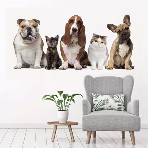 Adesivo parede decor cachorro gato pet shop banho tosa