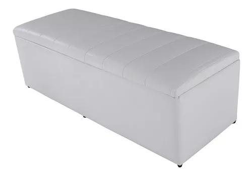 Baú recamier calçadeira casal courvin branco 140x51x47cm