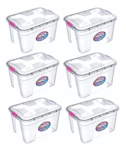 Caixa organizadora plástica multiuso 12 litros kit 6 peças