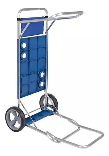 Carrinho praia alumínio 2 rodas c/suporte caixa térmica