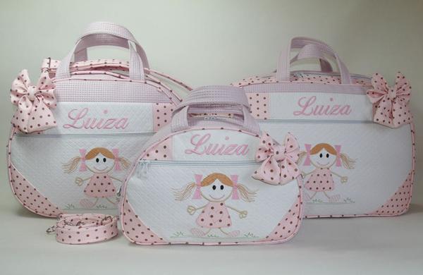 Conjunto 3 bolsas maternidade bordadas com nome do bebê