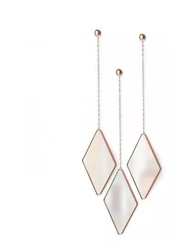 Dima - espelhos losango umbra cobre (3 peças) frete grátis
