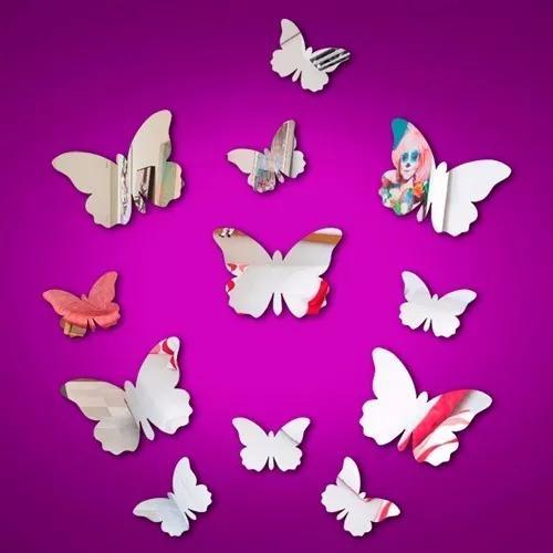 Espelho acrílico decorativo kit 12 borboletas frete gratis