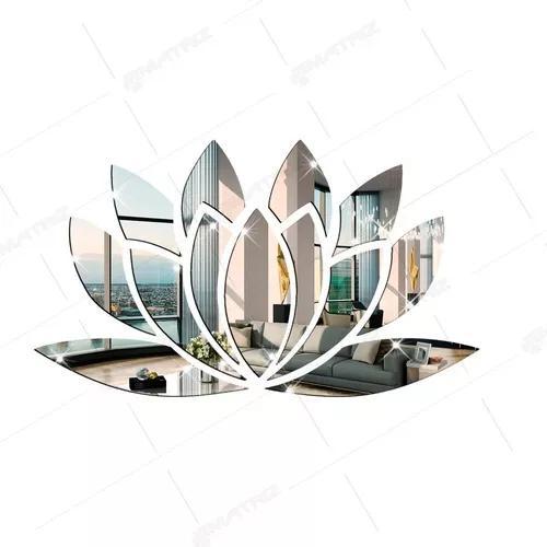 Flor de lótus acrílico espelho decorativo prata 2mm