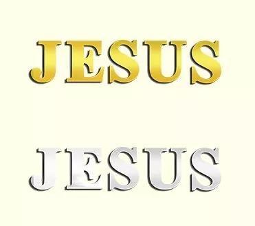 Jesus 5 letras 30 cm acrílico espelhado prata ou dourado
