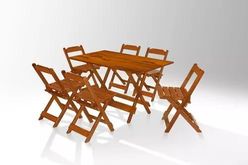 Jogo de mesa 120cm x 70cm e 6 cadeiras area de lazer mel