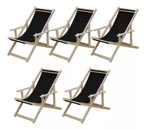 Kit 5 cadeiras espreguiçadeira preguiçosa dobrável