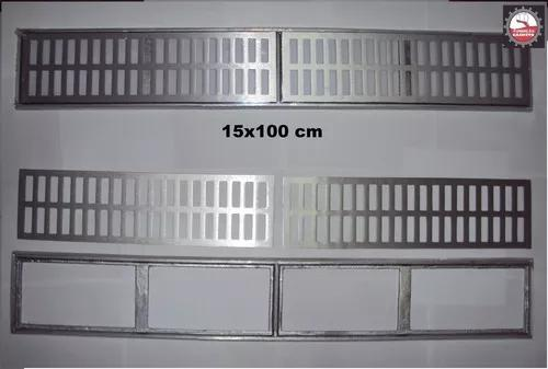 Kit 7 pecas ralo linear 15x100 cm grelha com suporte