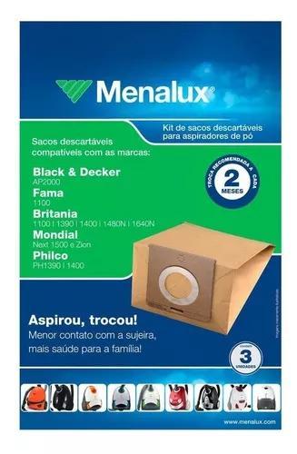 Kit menalux 3 sacos descartáveis para aspirador 1.7l sim01