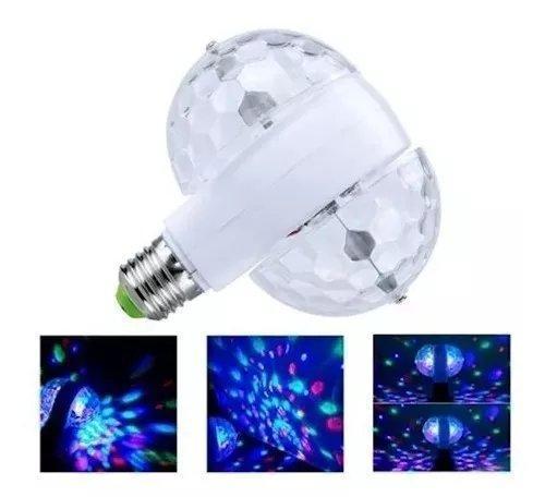 Lampada festa led colorida rotativa giratoria 2 globo