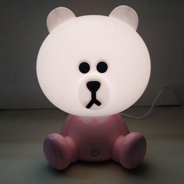 Luminária infantil urso usb touth quarto de bebê
