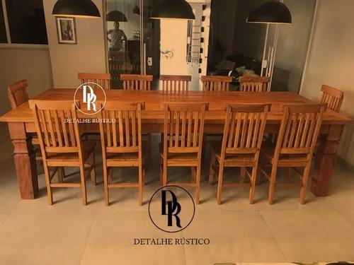 Mesa de jantar rústica de com 12 lugares