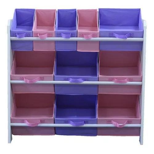 Organizador porta brinquedos infantil rosa e lilás