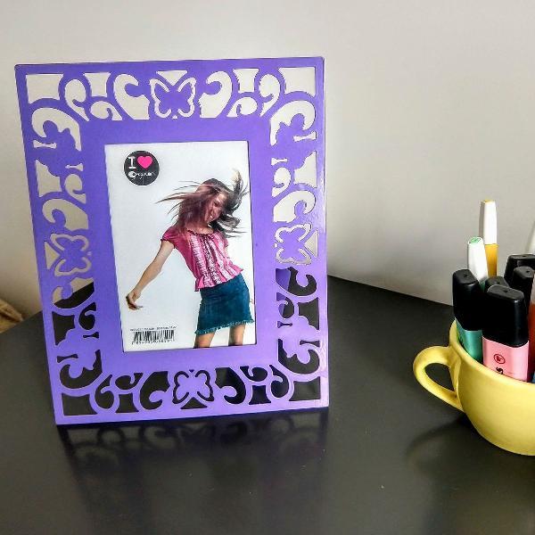 Porta retrato metal lilás