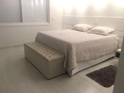 Puff baú calçadeira para pé da cama tamanho queen