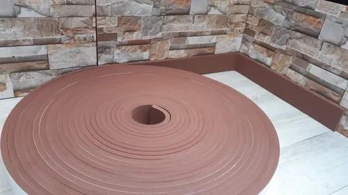 Rodapé eva adesivado marrom liso 7cm x 1cm 50 metros